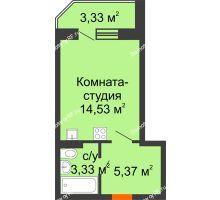 Студия 24,9 м² в ЖК Мандарин, дом 1 позиция 1,2 секция - планировка