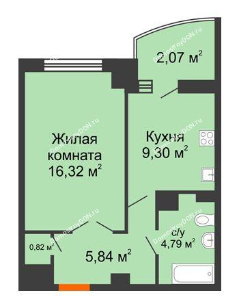 1 комнатная квартира 41,3 м² в ЖК Университетский 137, дом Секция С1