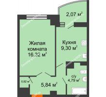 1 комнатная квартира 41,3 м² в ЖК Университетский 137, дом Секция С1 - планировка