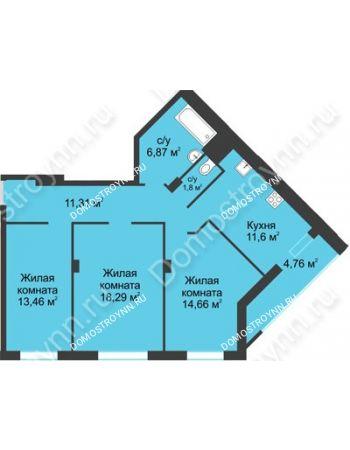 3 комнатная квартира 82,75 м² в ЖК На Вятской, дом № 3 (по генплану)
