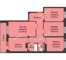 4 комнатная квартира 101,4 м², ЖК GEO (ГЕО) - планировка