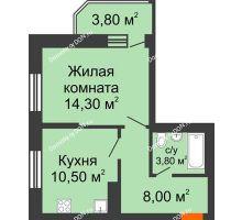 1 комнатная квартира 40,7 м² в ЖК Звездный, дом № 6