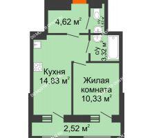 1 комнатная квартира 37,25 м² в ЖК Дом с террасами, дом № 6 - планировка