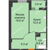 1 комнатная квартира 47 м² в ЖК Квартет, дом № 3 - планировка