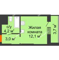Студия 23 м², ЖК Космолет - планировка