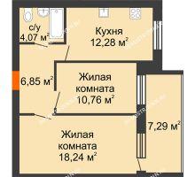 2 комнатная квартира 55,85 м² в ЖК Свобода, дом 1 очередь