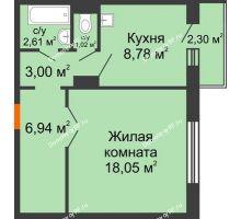 1 комнатная квартира 41,09 м² в ЖК Иннoкeнтьeвcкий, дом № 6