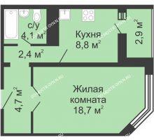 1 комнатная квартира 40,8 м² в ЖК Первомайский, дом № 5 - планировка