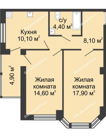 2 комнатная квартира 60 м² в ЖК Мега, дом № 2