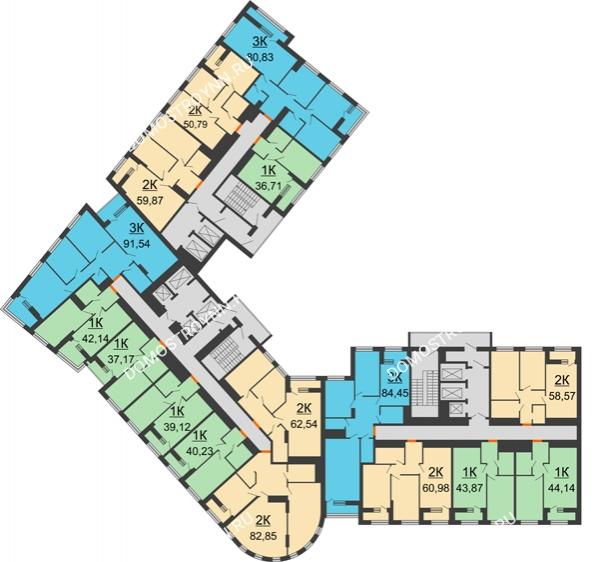 Планировка 13 этажа в доме № 1 в ЖК Дом на Набережной