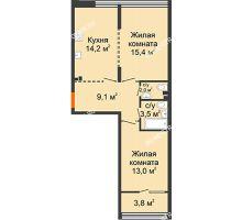 2 комнатная квартира 59,1 м², ЖК Лайнер на Барминской - планировка