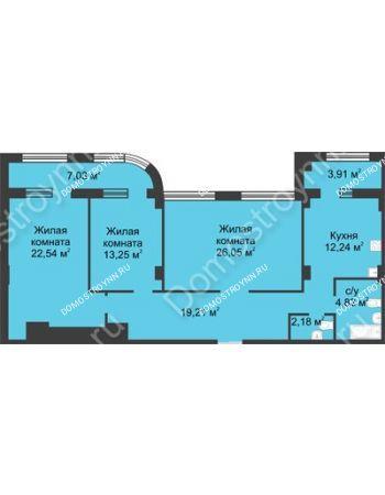 3 комнатная квартира 105,76 м² в ЖК Караваиха, дом № 5