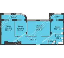 3 комнатная квартира 105,76 м² в ЖК Караваиха, дом № 5 - планировка