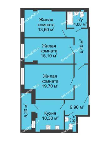 3 комнатная квартира 83,4 м² - ЖК Дом на Береговой