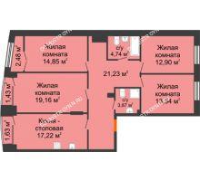 4 комнатная квартира 109,67 м², Клубный дом на Ярославской - планировка