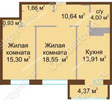 2 комнатная квартира 67,1 м² в ЖК Дворянский, дом № 1 - планировка