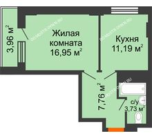 1 комнатная квартира 41,62 м², ЖД Весна - планировка