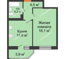 1 комнатная квартира 41 м² в ЖК Вересаево, дом Литер 6/2 - планировка