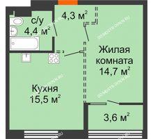 1 комнатная квартира 40,7 м², ЖК Лайнер на Барминской - планировка