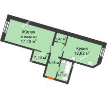 1 комнатная квартира 44,52 м², ЖК Советский - планировка