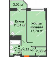 1 комнатная квартира 42,24 м² в ЖК Берег, дом 1 секция  - планировка