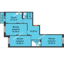 3 комнатная квартира 84,24 м², Жилой дом Кислород - планировка