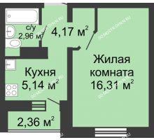 1 комнатная квартира 29,81 м² в ЖК Бурнаковский, дом № 39