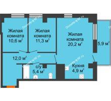 3 комнатная квартира 67,1 м² в ЖК Времена года, дом № 1 - планировка