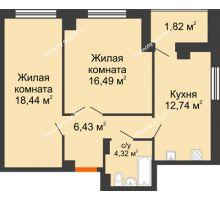 2 комнатная квартира 60,24 м² в ЖК Университетский 137, дом Секция С1 - планировка