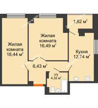 2 комнатная квартира 62,06 м² в ЖК Университетский 137, дом Секция С1 - планировка