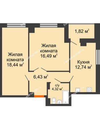 2 комнатная квартира 62,06 м² в ЖК Университетский 137, дом Секция С1