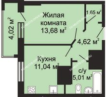 1 комнатная квартира 38,01 м², ЖК Гелиос - планировка