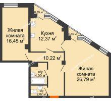 2 комнатная квартира 72,41 м² в ЖК Дом на Провиантской, дом № 12 - планировка