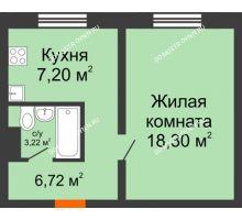 1 комнатная квартира 35,44 м² в ЖК Торпедо, дом № 18 - планировка