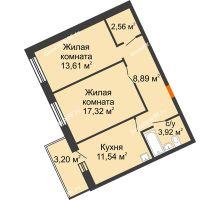 2 комнатная квартира 57,84 м² в ЖК Новый Академгородок, дом № 2 - планировка
