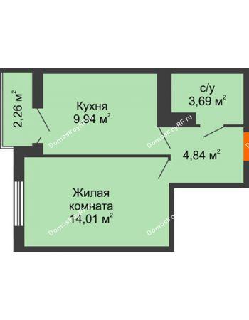 1 комнатная квартира 33,61 м² в ЖК Семейный парк, дом Литер 2