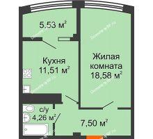 1 комнатная квартира 47,38 м² в ЖК Малахит, дом № 1 - планировка