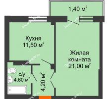 1 комнатная квартира 42,8 м², ЖК GEO (ГЕО) - планировка