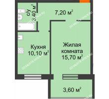 1 комнатная квартира 38,2 м² в ЖК Удачный 2, дом № 1 - планировка