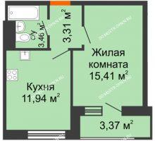 1 комнатная квартира 37,49 м² - ЖК Олимпийский