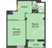 1 комнатная квартира 64,2 м² в ЖК Квартет, дом № 3 - планировка