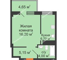 1 комнатная квартира 33,5 м², ЖК Вершина - планировка