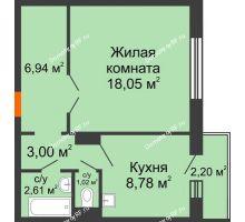 1 комнатная квартира 41,07 м² в ЖК Иннoкeнтьeвcкий, дом № 6