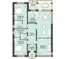 """3 комнатная квартира 139 м² в КП Ясная поляна, дом """"Баден"""" 148 м² - планировка"""