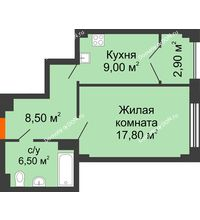 1 комнатная квартира 44,7 м², ЖК Гагарин - планировка