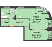 1 комнатная квартира 63,29 м², Клубный дом на Ярославской - планировка