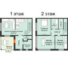 """3 комнатная квартира 140 м² в КП Ясная поляна, дом """"Ванкувер"""" 140 м² - планировка"""