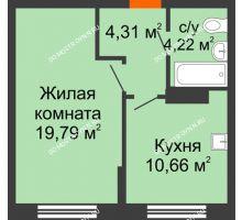 1 комнатная квартира 36,18 м², Жилой дом: ул. Сухопутная - планировка