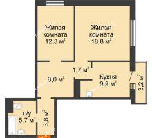 2 комнатная квартира 61,1 м² в ЖК на Калинина, дом № 2.1 - планировка