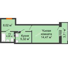 1 комнатная квартира 35,78 м² в ЖК Виктория, дом № 52 - планировка